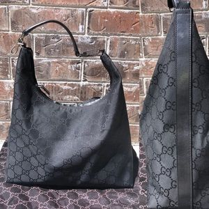 Gucci Black GG Monogram Canvas Large Hobo